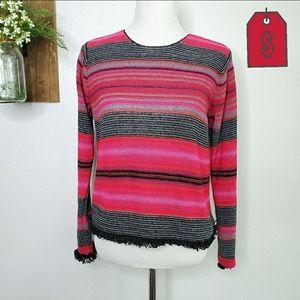 Sigrid Olsen Sports Hand Knit Strip Sweater Small